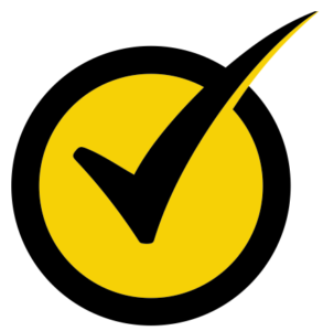yellow and black circle with a black checkmark